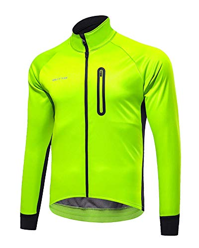 YAOTT Herrenjacke Winter Atmungsaktiv Langarm MTB Mountainbike Jacke Regenjacke - Für Radfahren, Joggen & Wandern Grün L