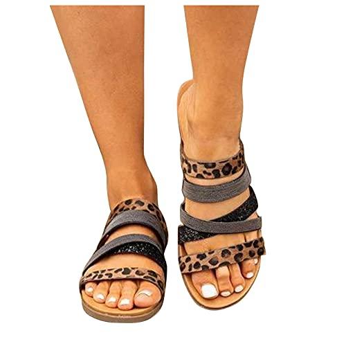 Kaitobe Sandals for Women Flat Flip Flop Sandals Boho Zipper Slip On Open Toe Roman Shoes Casual Summer Beach Sandals