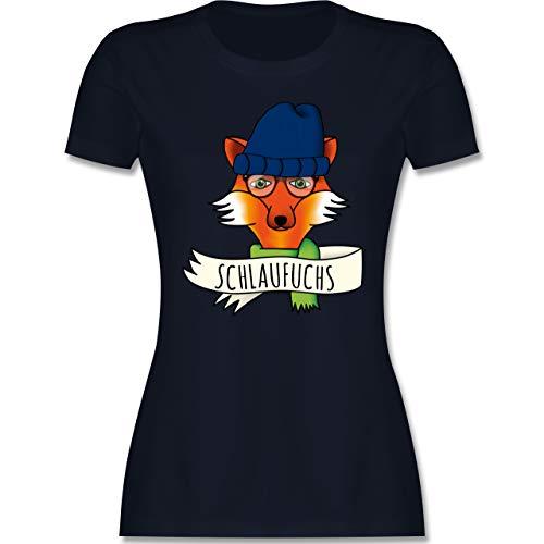 Eulen, Füchse & Co. - Schlaufuchs - M - Navy Blau - Statement - L191 - Tailliertes Tshirt für Damen und Frauen T-Shirt
