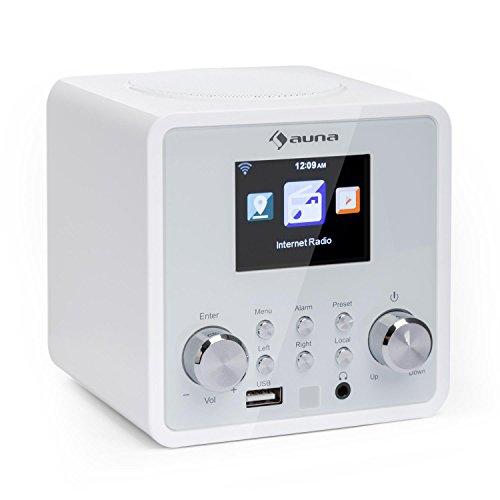 auna IR-120 - Internetradio, WiFi Radio, Radiowecker, Netzwerkplayer, farbiges TFT-Display, USB-Port, Kopfhörer-Ausgang, Wetteranzeige, weiß