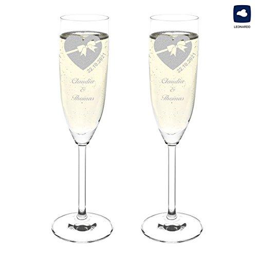polar-effekt Leonardo 2 Sektgläser Personalisiert - Hochzeitsgläser Hochzeitsgeschenk für Brautpaare mit Gravur des Namens - Geschenkidee zur Hochzeit - Motiv Herz mit Schleife