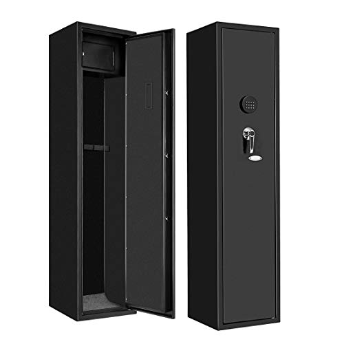 BonusAll Large Home Rifle Safe for 5 Gun, Electronic Gun Safe for Long Gun, Shotgun, Quick Access Rifle Security Cabinet with Lock Box and 2 Keys (Metal Black)
