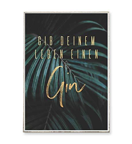Kunstdruck Poster Bild GIN -ungerahmt- Typografie Dekoration tropisch Natur Palme Pflanze
