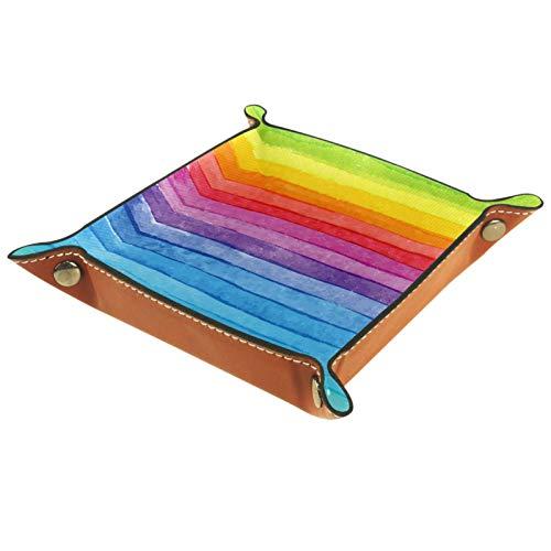 Bandeja de Cuero - Organizador - Rayas de arco iris - Práctica Caja de Almacenamiento para Carteras,Relojes,llaves,Monedas,Teléfonos Celulares y Equipos de Oficina