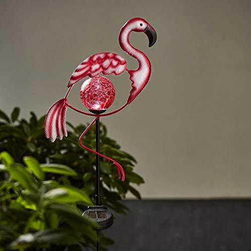 LED Solar-Lampe Flamingo, pink, Metall, Glas | Garten-Deko Leuchte, ideal für Terrasse, Wiese, Balkon, Blumenbeet, Wege | Photovoltaik Dämmerungssensor IP44 Glaskugel Erdspieß Batterie Akku