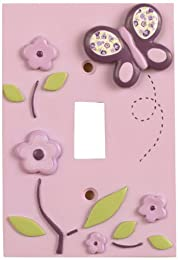 girly purple and pink butterfly light switch cover