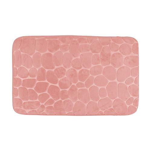 H HANSEL HOME Alfombra de Baño de Microfibra Extra Suave Antideslizante Tapede Extra Absorvente para Duchas Diseño Ladrillo 50X80cm (Naranja Coral)