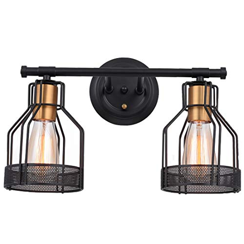 Pauwer 2 Light Bathroom Vanity Light Industrial Metal Wire Cage Wall Sconce Edison Vintage Wall Light Fixture for Bathroom (2-Light Vanity Light)