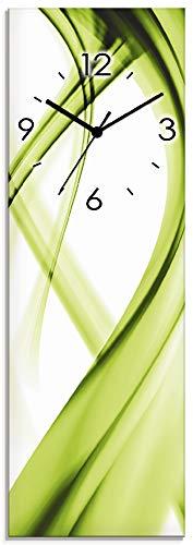 Artland Wanduhr ohne Tickgeräusche aus Glas Funkuhr 20x60 cm Rechteckig Lautlos Design Abstrakt Kunst Bunt Modern Ausgefallen S8WH