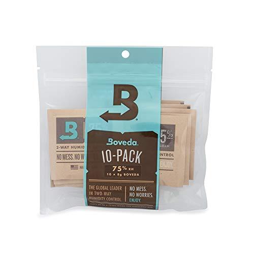 Boveda - Bolsitas para almacenar puros y tabaco | Control doble de la humedad - 75% HR | Tamaño 8 para un máximo de 5 puros | Tecnología patentada para humidores de puros | Pack de 10 en bolsa hermét