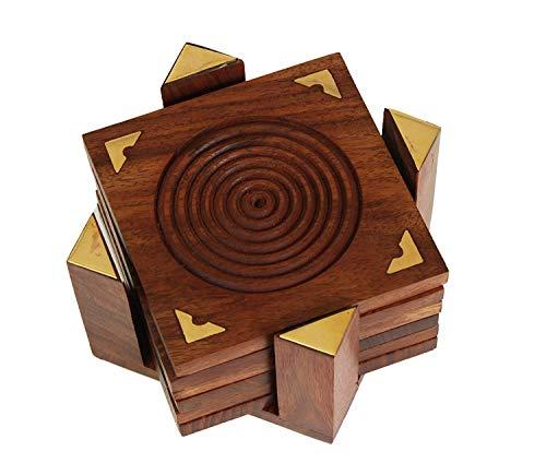 Ajuny - Set di 6 sottobicchieri in legno naturale, intagliati a mano, per tazze da tè, caffè, birra, bar, bicchieri e bicchieri da acqua
