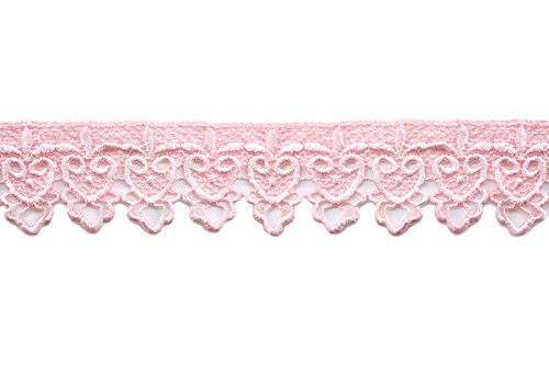Altotux 2' Embroidered Floral Scalloped Venice Lace Trim Victorian Guipure Sewing Supplies by Yard (Light Pink)
