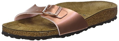 BIRKENSTOCK Unisex Madrid Birko-flor Pantoletten Narrow Fit , Pink (Soft Metallic Rose Gold Soft Metallic Rose Gold) , 35 (Schmal)