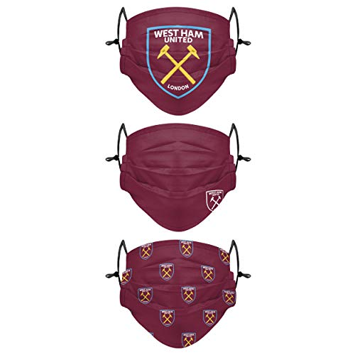 Forever Collectibles UK WEST HAM UNITED FC 3 PACK FACE COVERINGS PLEATED WH