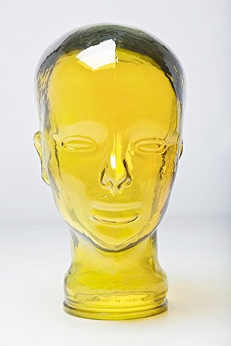 Kare Deko Kopf Glas in versch. Farben, Farbe:gelb