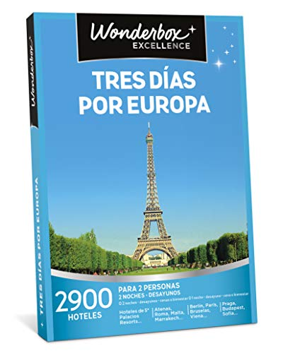 WONDERBOX Caja Regalo - Tres DÍAS por Europa - Dos Noches con desayunos a Elegir Entre 2.900 hoteles para Dos Personas.
