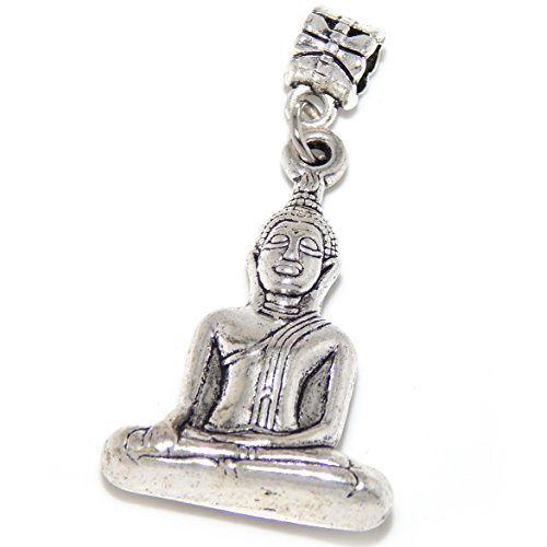 GemStorm Silver Plated Dangling 'Buddha' for European Snake Chain Bracelets