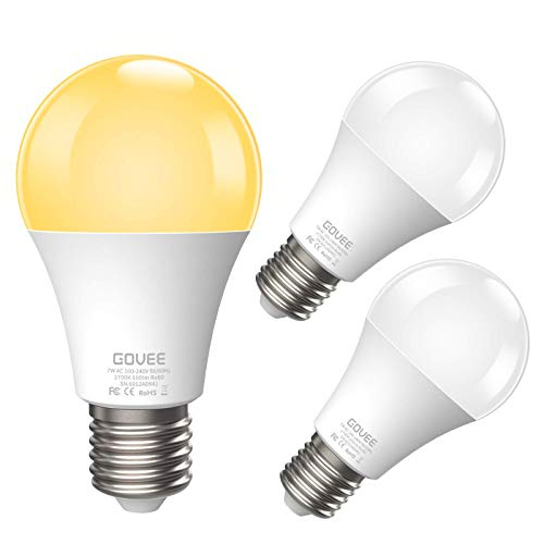 Govee LED Dusk-to-Dawn Light Bulbs, 7W 600lm Smart Sensor Automatic Bulb with Auto on/Off, 30,000 Hour Lifetime, Indoor/Outdoor Lighting Lamp for Porch, Hallway, Garage (E26 Base, Soft White, 3 Pack) -  B6012713