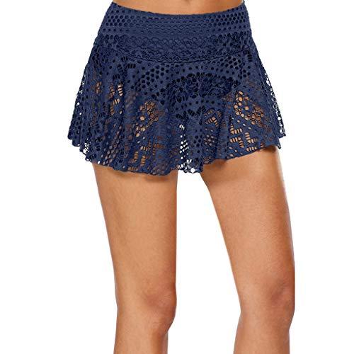 Reooly Falda de Crochet de Encaje para Mujer Falda de Bikini Falda Corta Falda de Playa de Vacaciones Junto al mar