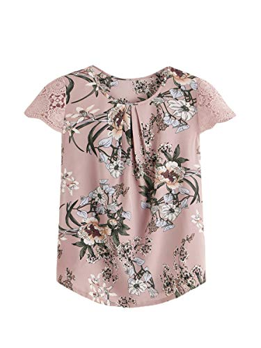 Floerns Women's Plus Size Floral Print Short Sleeve Summer Blouse Top Shirt Pink 1XL