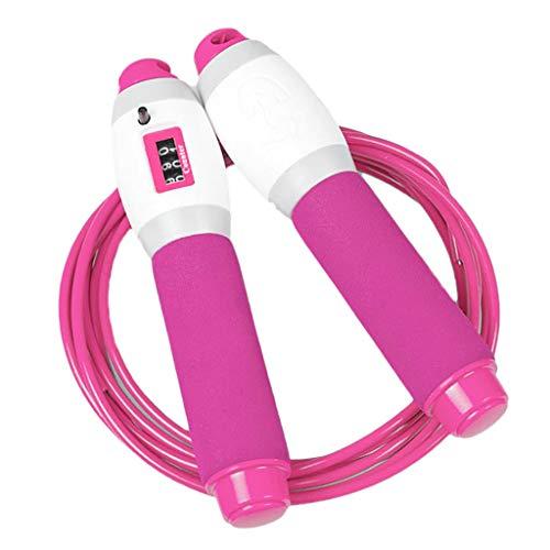 Einstellbare Springseil mit Zähler Für Fitness, Ausdauer & Abnehmen. - Rose Rot