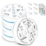 Unterwasser-LED-Leuchte 13 LED-RGB, batteriebetriebene Unterwasser-LED-Leuchte IP68 Wasserdicht mit RF-Fernbedienung für Teiche, Pools, Vase, Aquarien (4 PCS)
