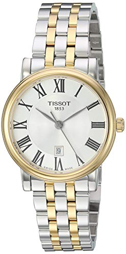 womens Carson Stainless Steel Dress Watch Grey|Yellow Gold - Tissot T1222102203300
