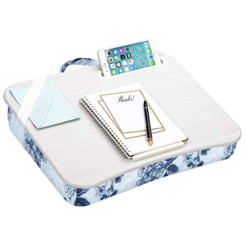 LapGear Designer Lap Desk with Phone Holder and Device Ledge - Blue Blossoms - Fits up to 15.6 Inch Laptops - Style No. 45433