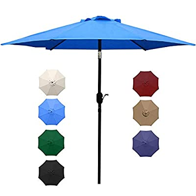 UHINOOS 9 ft Patio Umbrella,Outdoor Umbrella with Crank and 8 Ribs, Polyester Aluminum Alloy Pole Tilt Button Outside Table Umbrella, Fade Resistant Water Proof Patio Table Umbrella (Black)