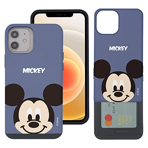 WiLLBee Compatible with iPhone 12 Pro MAX Case (6.7inch) Dual Layer Card Slide Slot Wallet Bumper Cover - Baby Face Mickey Mouse