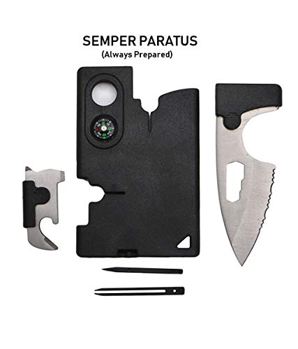 SEMPER PARATUS Gifts for men MultiTool Card Gadgets for Men - 10 IN 1 Credit Card Tactical | Multi Tool Pocket for everyday use - Be a hero. Be prepared. - Guy Stuff