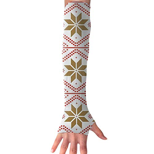 RZM YLY Unisex Nordic Style Snowflake Christmas Arm Sleeves UV Sun Protective Fashion Tattoo Arm Gloves Long Sleeve Perfect for Football (1 Pair)