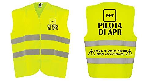 REITANO GROUP Gilet da Pilota apr Drone omologato Fluorescente Alta visibilità Sicurezza ARB8 (XL)