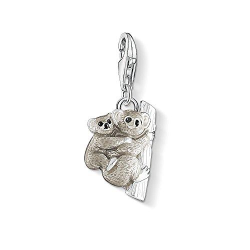 Thomas Sabo Damen-Charm-Anhänger Koala mit Kind Charm Club 925 Sterling Silber grau schwarz Zirkonia 1334-041-5