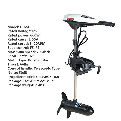 "HYYKJ-US Electric Outboard Trolling Motor 44lbs Thrust Outboard Engine Inflatable Fishing Boat Engine Motor, 1300RPM 16"" Short Length, Freshwater Saltwater Use (ET45L, 12V 480W)"