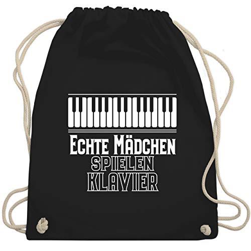 Shirtracer Sprüche Kind - Echte Mädchen spielen Klavier - Unisize - Schwarz - turnbeutel klavier - WM110 - Turnbeutel und Stoffbeutel aus Baumwolle