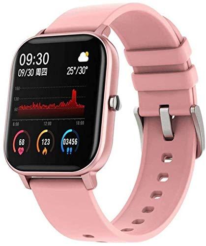 JIAJBG Reloj inteligente, monitor de fitness con pantalla táctil completa de 1,4 pulgadas, para hombres y mujeres, recordatorio inteligente de monitoreo con Bluetooth, color negro exquisito/rosa
