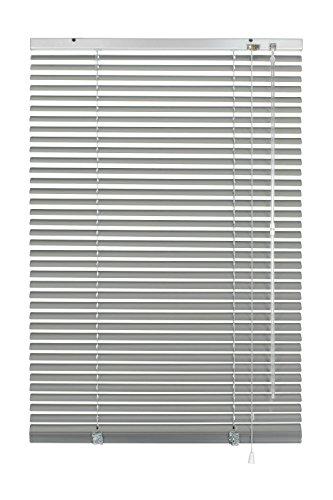GARDINIA Veneziana in alluminio, Visibilità, Protezione dalla luce e ai raggi solari, Fissaggio al muro e al plafone, Kit di montaggio incluso, Argento, 90 x 175 cm (LxA)