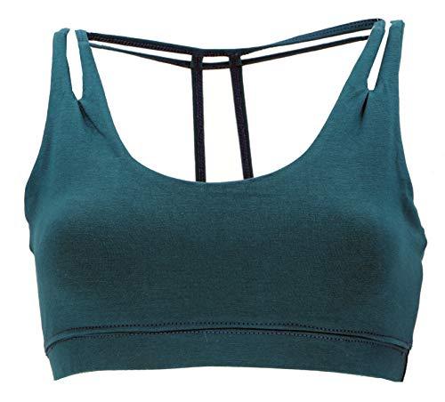 Guru-Shop Goa Psytrance Bikini Top, Goa Top, Pixi Yoga Bra, Damen, Petrol, Baumwolle, Size:S/M (36), Tops & T-Shirts Alternative Bekleidung