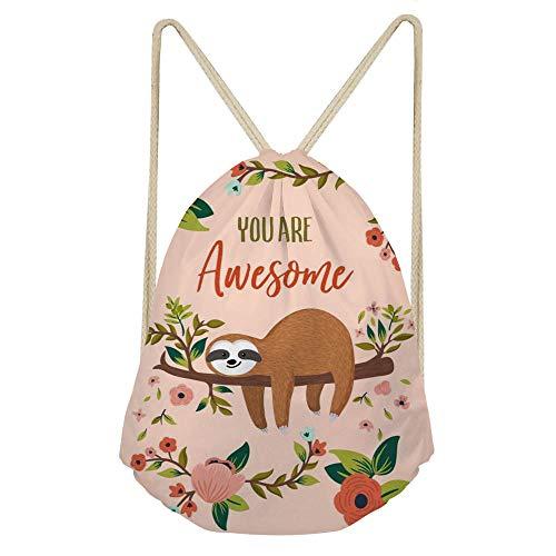 Showudesigns Sloth Drawstring Bag Cinch Gym Backpack for Kids Girls Basketball Tennis