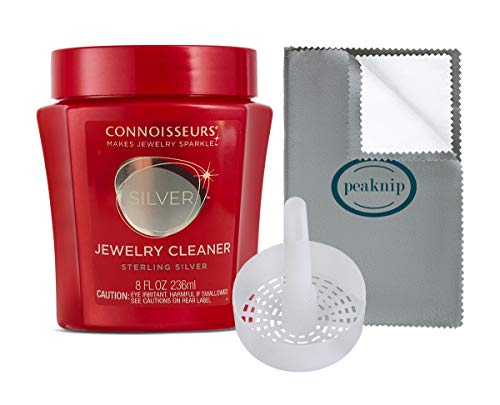 Connoisseurs Silver Jewelry Cleaner with Cleaning Basket and Polishing Cloth 8 oz.