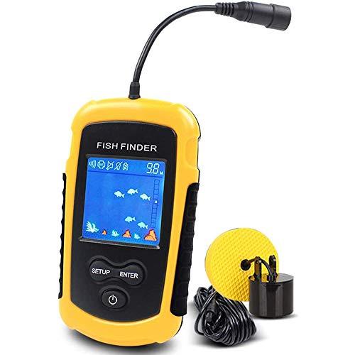 YJJ Tragbarer Fischfinder, Hand Echolot Fischtiefe Sucher Mit Sonar-Sensor-Transducer Und LCD-Anzeige Für Eisfischen Sea Fishing