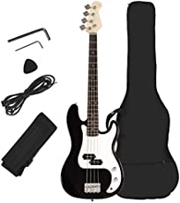 Costzon Full Size Electric 4 String Bass Guitar for Beginner Starter Complete Kit, Rose Fingerboard and Bridge, w/Two Pickups & Two Tone Control, Guitar Bag, Strap, Guitar Pick, Amp Cord (Black Bass)
