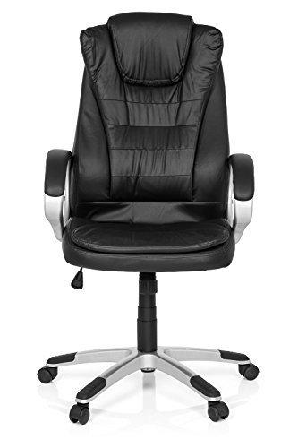MyBuero Fauteuil de direction, fauteuil de bureau RELAX WB100 simili cuir noir avec accoudoirs, capitonnage souple, dossier haut...