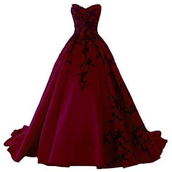 Kivary Gothic Black Satin Lace V Neck A Line Long Prom Corset Wedding Dresses 8 Black Burgundy