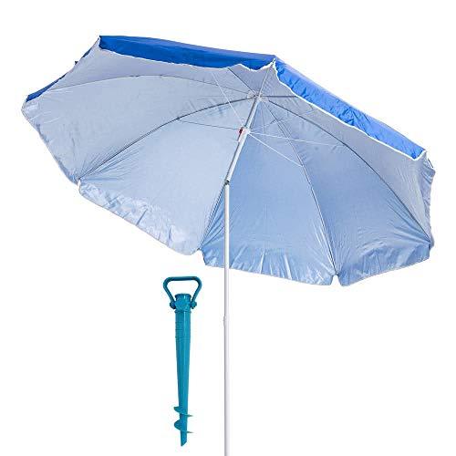 LOLAhome Pack sombrilla de Playa de Ø 200 cm Azul de Acero, y Soporte