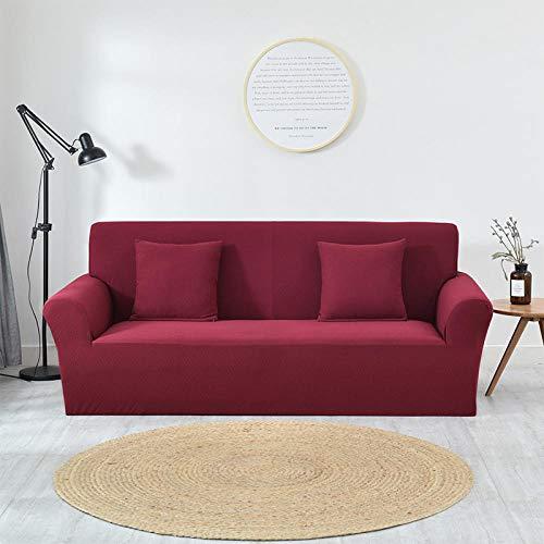 Cubierta para sofá con Cuerda de fijación,Funda de sofá jacquard gruesa de color puro, funda protectora de muebles antideslizante elástica, funda de cojín antiincrustante para sofá de sala de estar-V