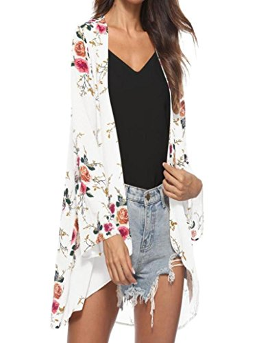 WOCACHI 2020 Summer Womens Kimono Floral Printed Cardigans Chiffon Cover ups Casual Smock