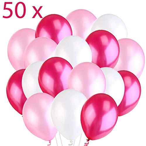 50 Ballonnen Roze Wit Fuchsia, Premium Helium Ballonnen 14
