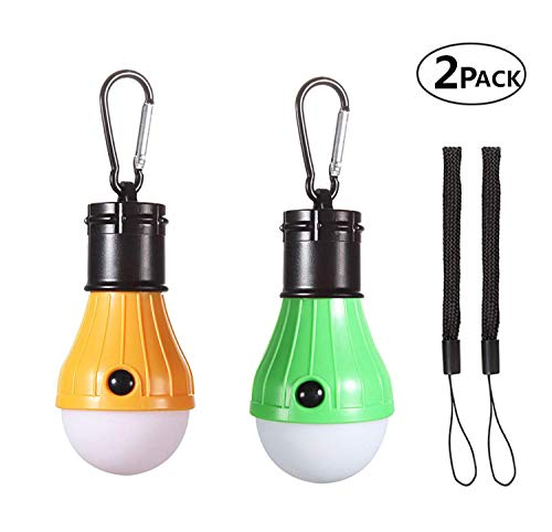 Emwel 2 Pack Tent LED Lampen met Karabijnhaken & Hand Strings, Draagbare Waterdichte Batterij Aangedreven 150 Lumens Handige Noodverlichting Lamp Lantaarn voor Camping Wandelen Vissen Jacht